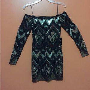 Express Black sequined long sleeve dress